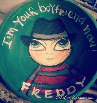 SOLD Freddy Kreuger painted bowl