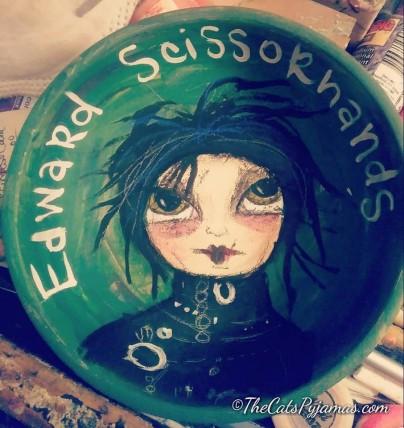 SOLD Edward Scissorhands painted bowl