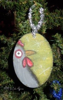 Gray Chicken Ornament