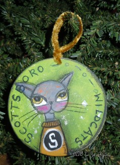 Scottsboro Wildcats Ornament Bright green (SOLD)