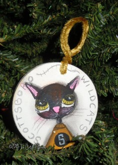 SOLD Scottsboro Wildcats Ornament sad eyes