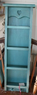Painted teal shelf