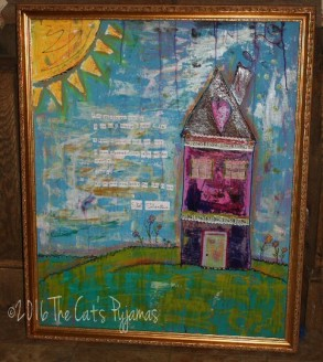 SOLD Mixed Media House Painting