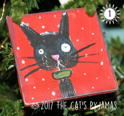 Black & Red kitty ornament