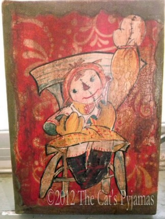 Antique inspired Raggedy Ann painting