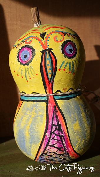 Painted Owl Gourd 14