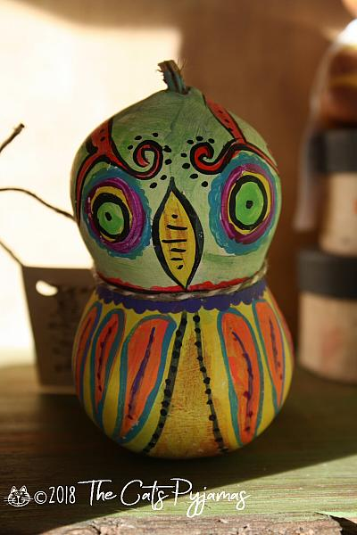 Painted Owl Gourd 1