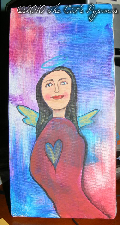 Black Haired Angel painting