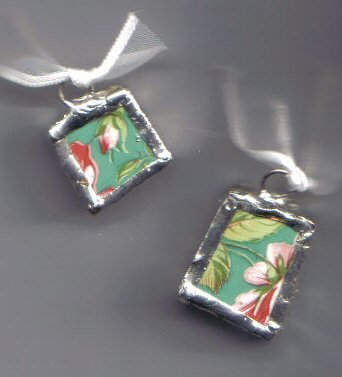Chintz pendants Teal with Pink Flowers