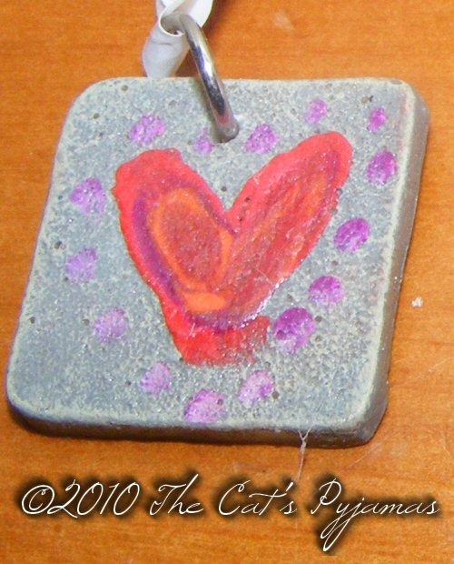 Funky Heart with dots pendant