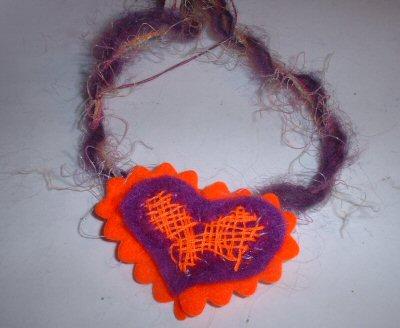 Funky Purple & Orange Heart Necklace