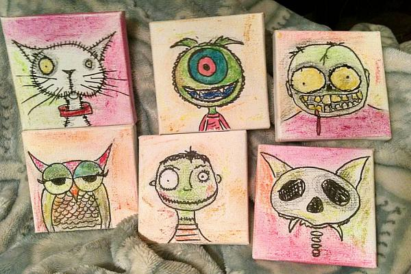 Creepy Cute Tiny Canvases