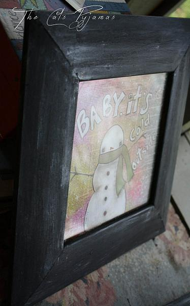 Snowman Mixed Media Painting