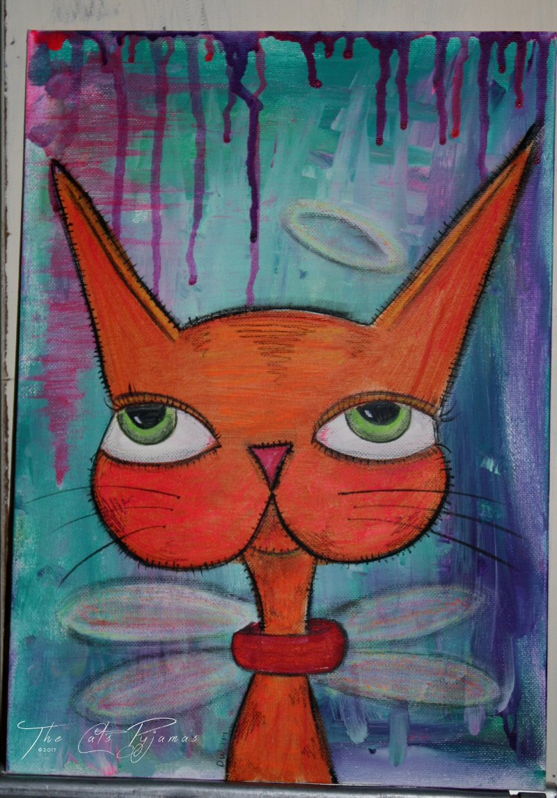Cat Angel Painting