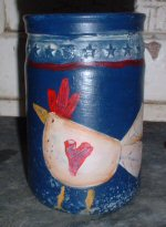 Handpainted Chicken Jar