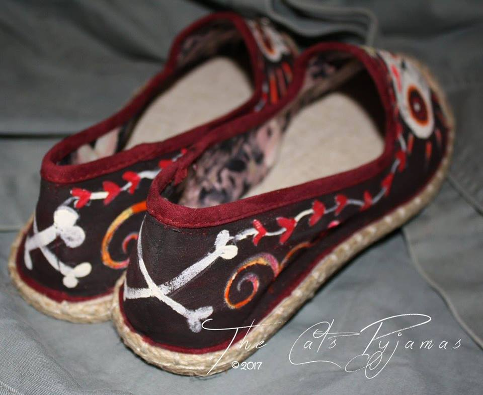 Hand-painted Day of the Dead shoes