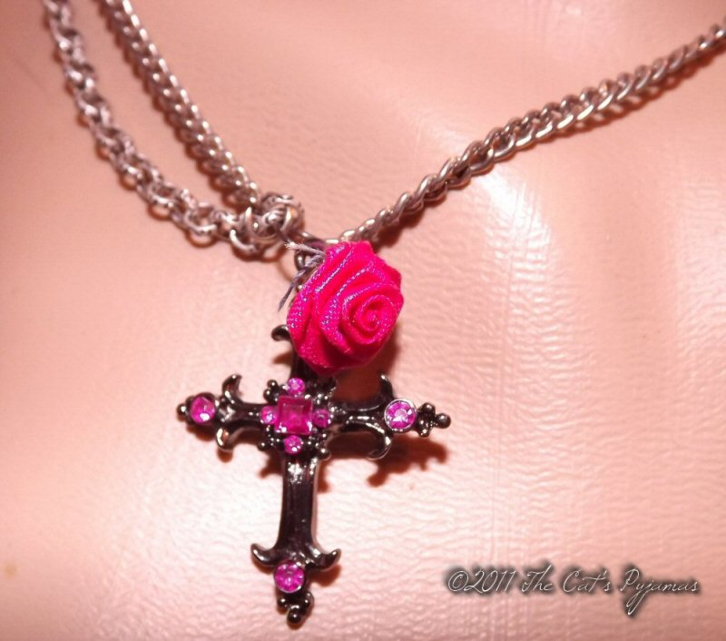 Black & hot pink cross with rose necklace