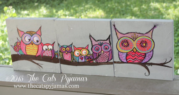 Family of Owls Painting Bright & Funky 3 pieces Original Artwork Nursery Decor