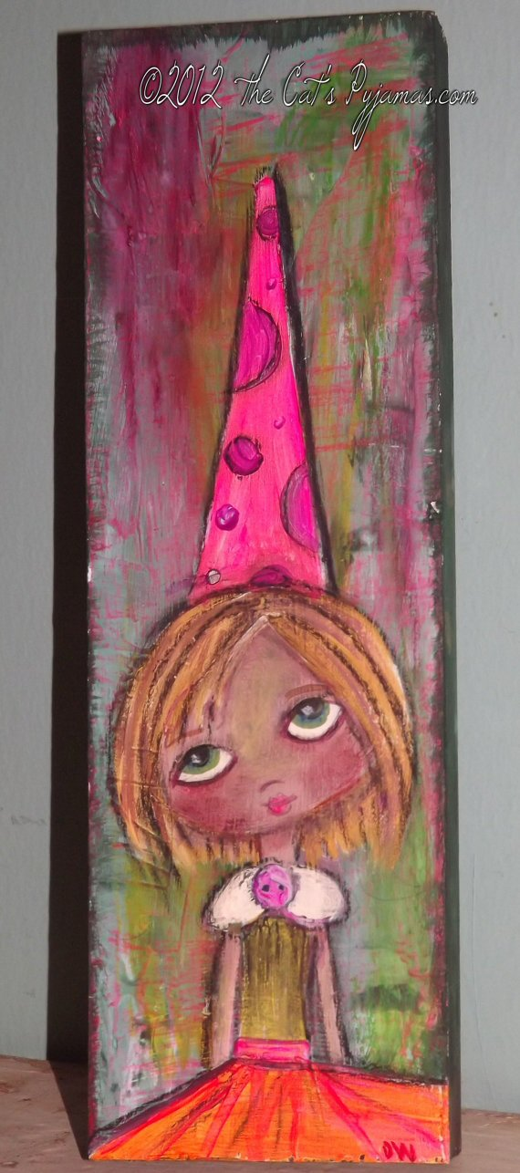 Sad Eyes Birthday Girl Folk Art Neon Colors Acrylic & Oil Pastels Original